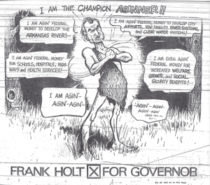 image of cartoon by Jon Kennedy, Arkansas Gazette, August 5, 1966, 12G. Depicts Frank Holt for Governor.