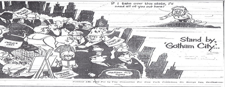 """image of cartoon by Jon Kennedy published during Winthrop Rockefeller's 1966 campaign for Governor of Arkansas on Nov. 4, 1966 titled """"stand by Gotham city"""""""
