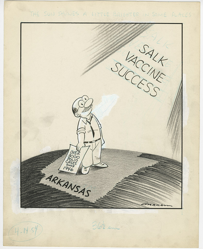 """The sun shines a little brighter in some place"" by Bill Graham depicts a man in Arkansas smiling as he holds a piece of paper that reads ""over 3000 polio cases since 1946,"" background caption reads ""salk vaccine success."" April 14, 1954."