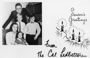 Holiday greeting card featuring the Ledbetter family