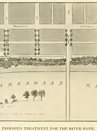 In his 1914 Report on a Park System for Little Rock Arkansas, John Nolan proposed a natural green treatment for the Arkansas River bank along Markham Street. Here it intersects with Main Street.
