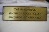Nameplate for Winthrop Rockefeller as governor of Arkansas (wr-099)