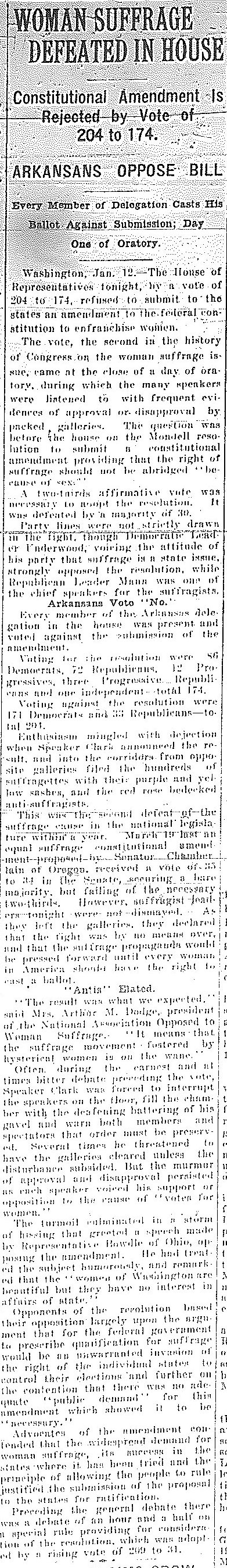 anti suffrage arkansas women s suffrage centennial project w suffrage defeated in the house arkansas gazette 1 1915 courtesy of the arkansas state archives