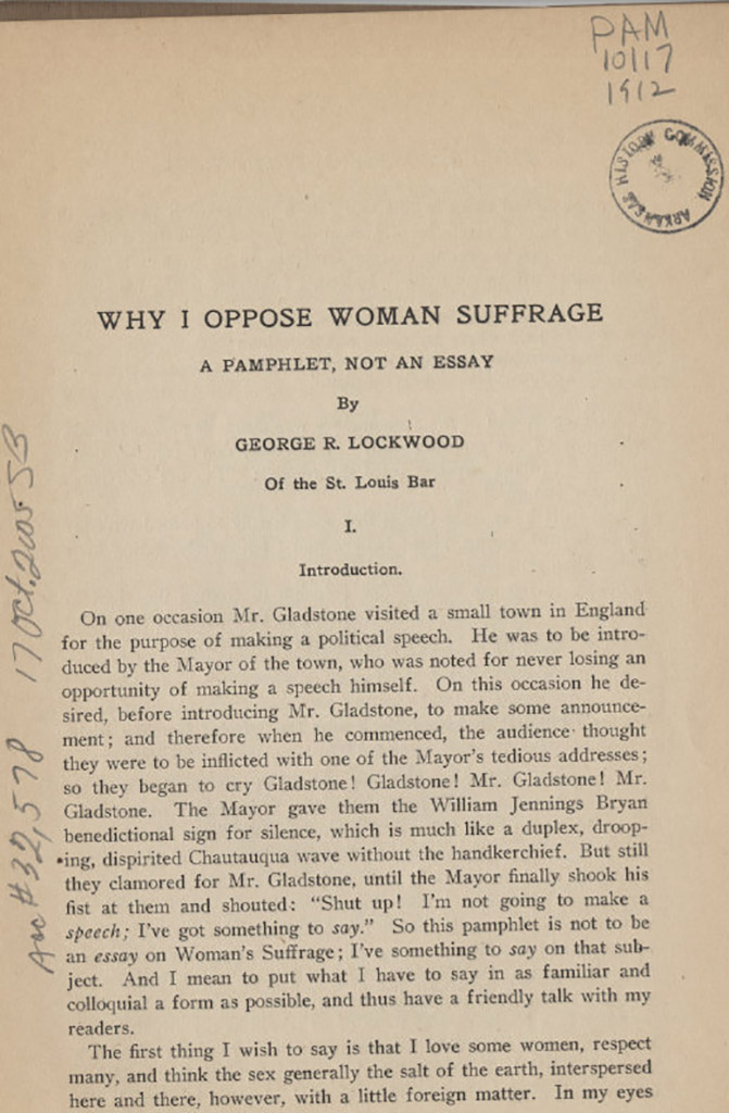 anti suffrage arkansas women s suffrage centennial project why i oppose w suffrage a pamphlet not an essay by george r lockwood 1912 page 1 courtesy of the arkansas state archives