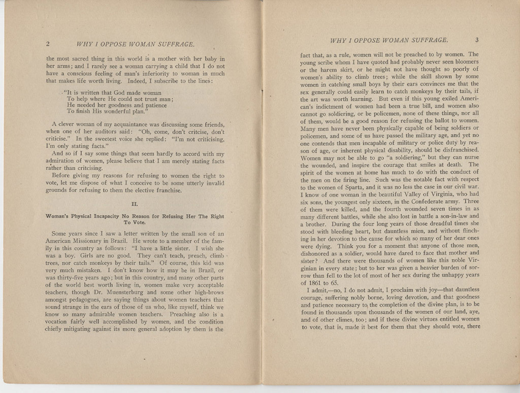 anti suffrage arkansas women s suffrage centennial project why i oppose w suffrage a pamphlet not an essay by george r lockwood 1912 pages 2 3 courtesy of the arkansas state archives