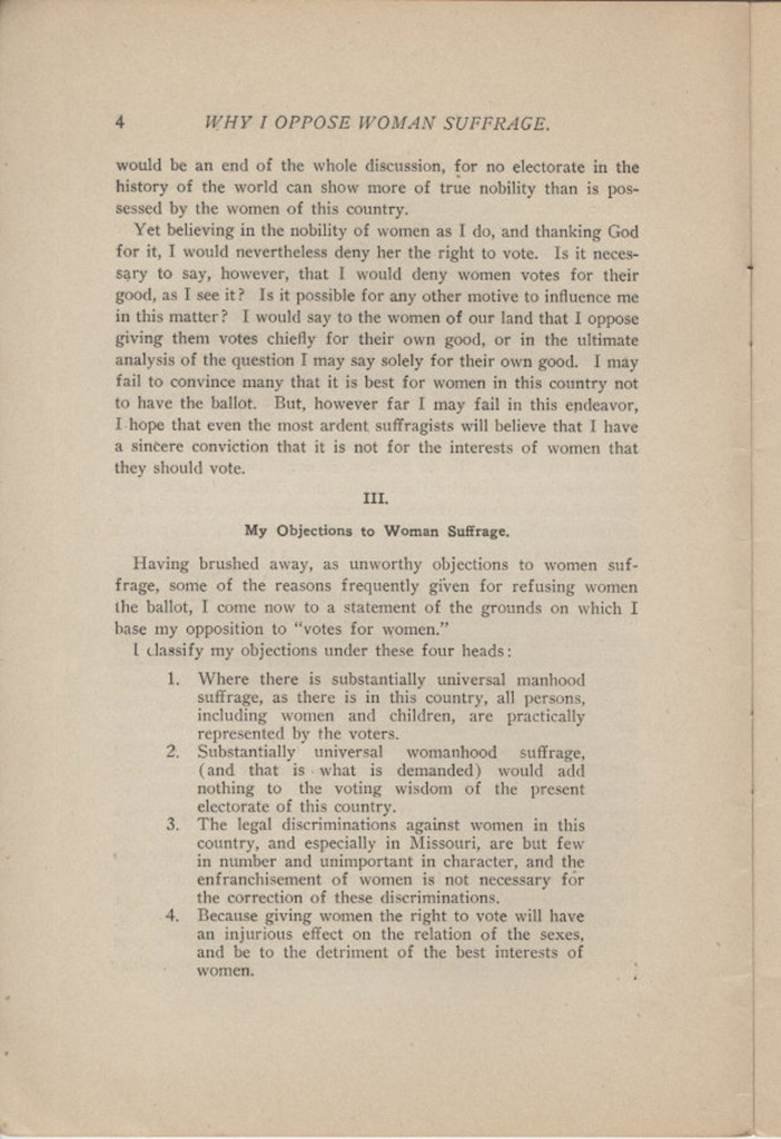anti suffrage arkansas women s suffrage centennial project why i oppose w suffrage a pamphlet not an essay by george r lockwood 1912 page 4 courtesy of the arkansas state archives