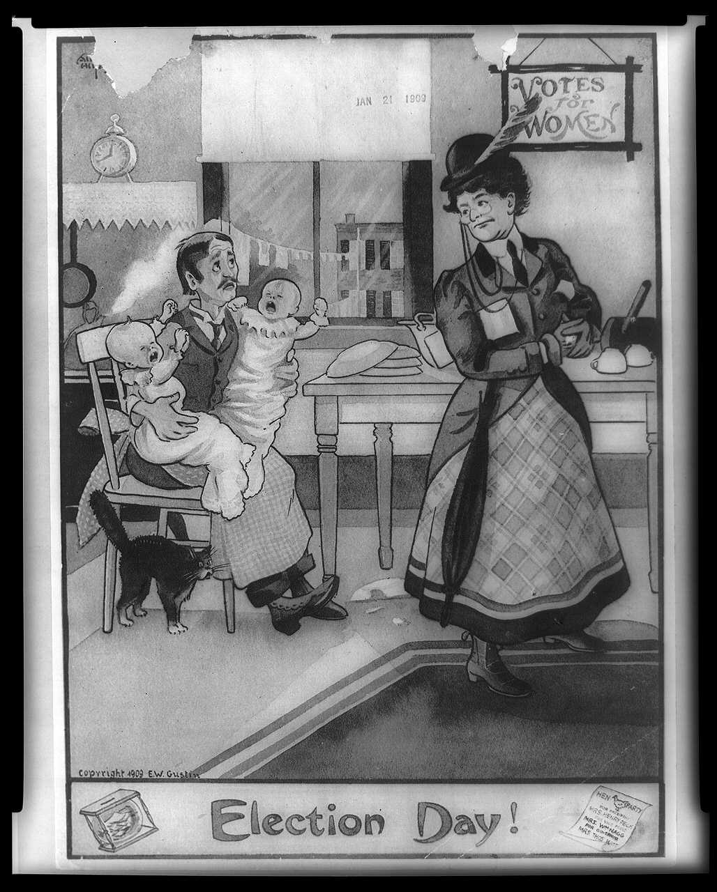 anti suffrage arkansas women s suffrage centennial project election day political cartoon 21 1909