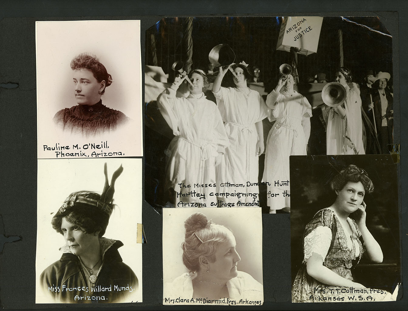Arizona suffrage image featuring Arkansans Mrs. Clara McDiarmid and Mrs. T.T. Cotnam