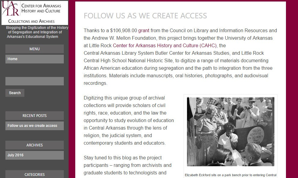 Blogging the Digitization of the History of Segregation and Integration of Arkansas's Educational System screenshot