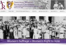 Screenshot of home page for Arkansas Women's Suffrage Centennial