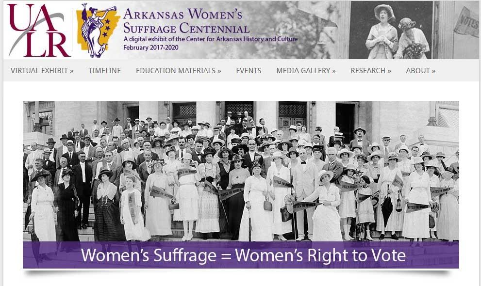 Screenshot of home page for Arkansas Women's Suffrage Centennial