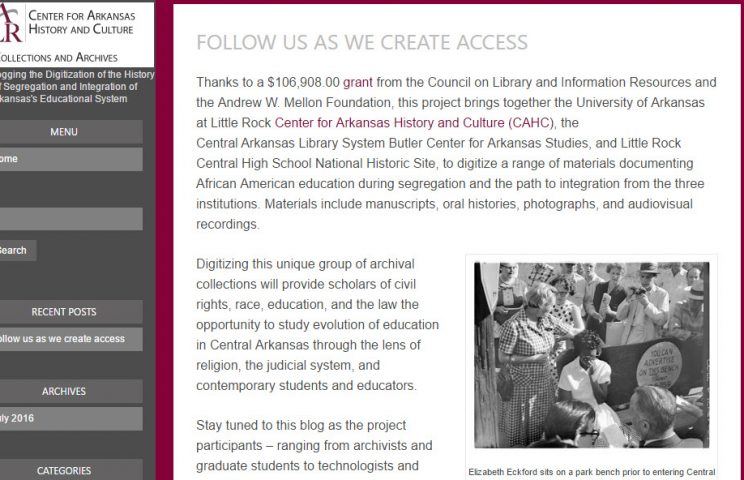 Blogging the Digitization of the History of Segregation and Integration of Arkansas's Education System