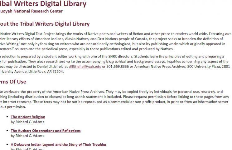 Tribal Writers Digital Library